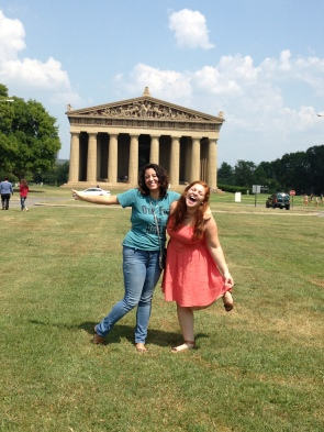 Kassandra, my cousin, and me at the Parthenon in Nashville